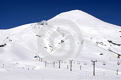 Volcano Villarrica and Pucon ski resort in Chile
