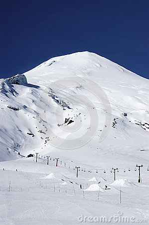 Volcano Villarrica and Pucon ski resort in Chile