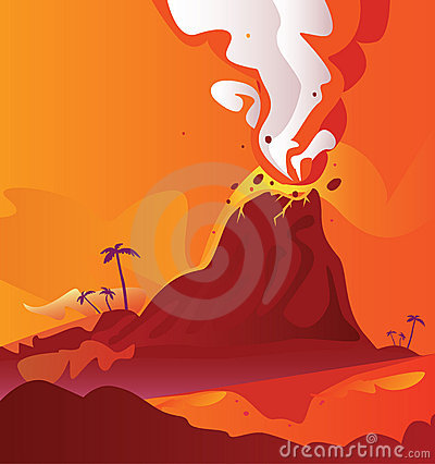 Free Volcano With Burning Lava Royalty Free Stock Photo - 9445595