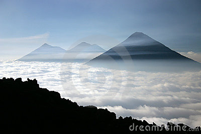 Volcanoes over a see of clouds
