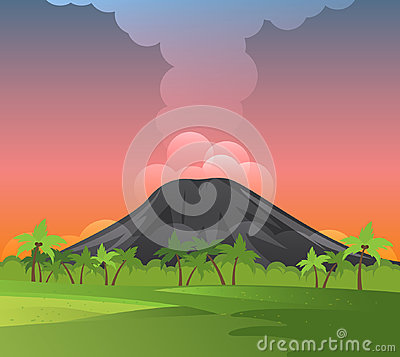 Free Volcanoes With Smoke, Green Grass And Palms. Stock Image - 95673961