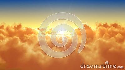 Voler au-dessus des nuages avec le soleil de soirée (matin) illustration libre de droits