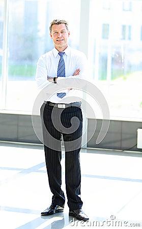 Volledig lengteportret van een rijpe bedrijfsmens met handen