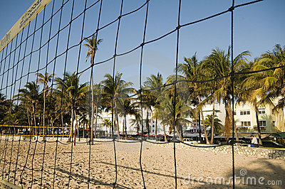 volley ball court south beach miami Editorial Image