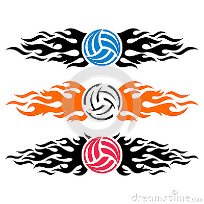 Free Volleyball Ball Flaming Logo Templates Stock Photo - 81398170