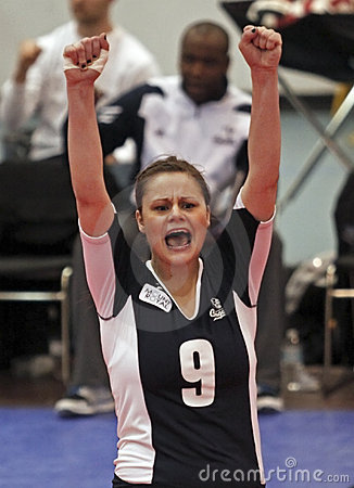 Volleyball celebrate point Editorial Image