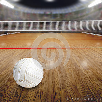 Free Volleyball Court With Ball On Wood Floor And Copy Space Royalty Free Stock Photo - 67766955