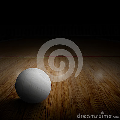 Free Volleyball Court With Ball On Wood Floor And Copy Space Royalty Free Stock Image - 85589086