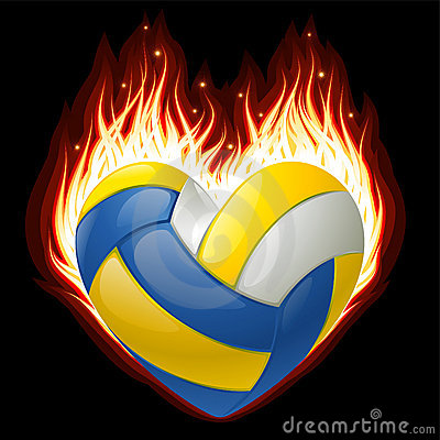 Volleyball on fire in the shape of heart