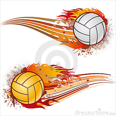 Volleyball With Flames Royalty Free Stock Photo - Image: 4711315