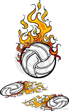 Volleyball Flaming Ball Logo Stock Photos - Image: 12270293