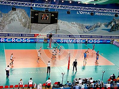 Volleyball match: serve Editorial Stock Photo