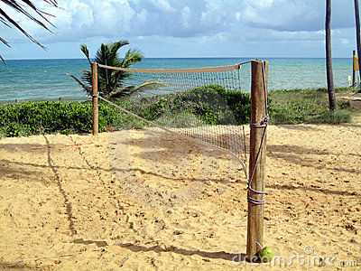 Volleyball net on pretty beach