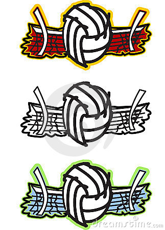 Volleyball and Net Vector Illustration