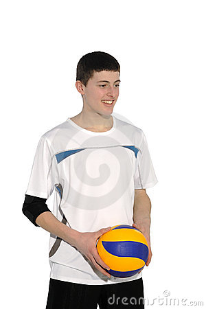 Volleyball player with the ball