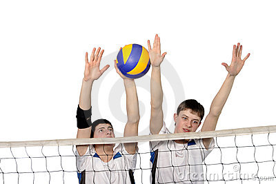 Volleyball players with the ball