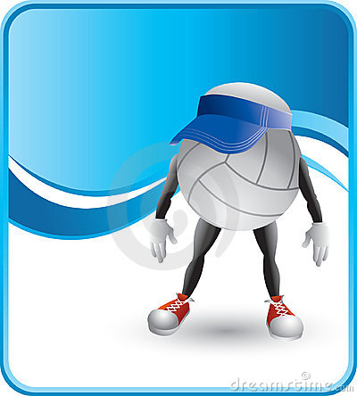 Volleyballs character with visor