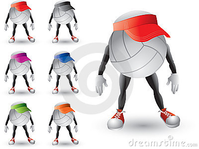 Volleyballs characters with multiple colored visor