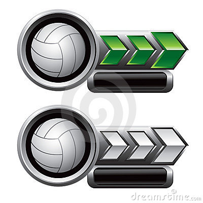 Volleyballs on green and white arrow nameplates