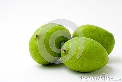 Vollständige grüne Mangofrucht drei
