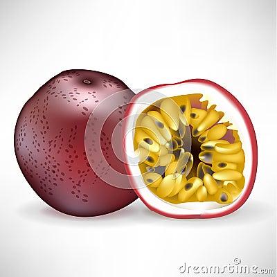 Vollständige Passionsfrucht und geschnittene Frucht