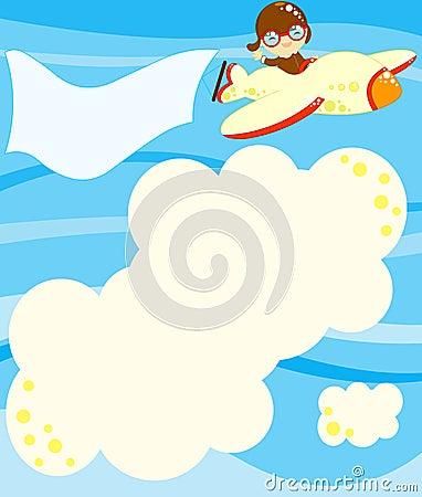 Volo dell aviatore con il messaggio da riempire