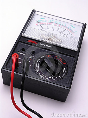 Free Volt Meter With Cables Royalty Free Stock Photo - 1715815