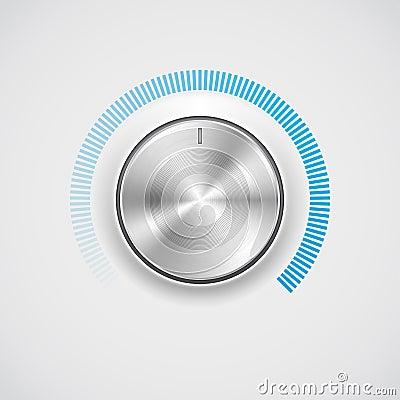 Free Volume Button (knob) With Metal (chrome) Texture Stock Image - 24996461