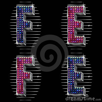 Volume vector letters E,F with shiny rhinestones