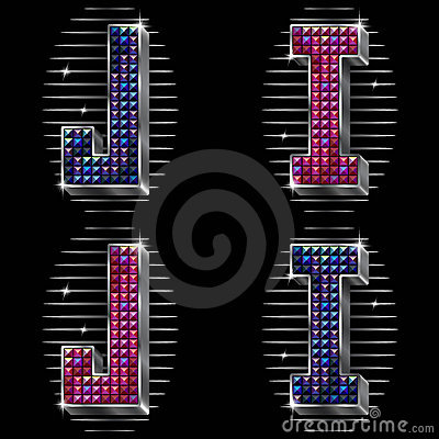 Volume vector letters I,G with shiny rhinestones