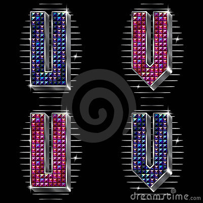 Volume vector letters U,V with shiny rhinestones