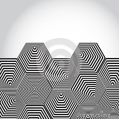 Volumetric 3d Pyramid Hexagon Optical Illusion Background Bla Stock Vector Image 44718309