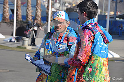 Volunteers at XXII Winter Olympic Games Sochi 2014 Editorial Image