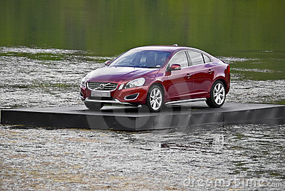 Volvo S60, floating next to the 17th green Editorial Image