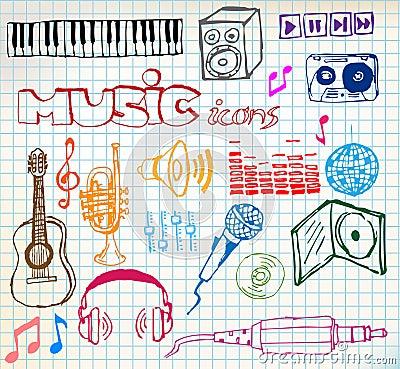 Von Hand gezeichnet Ikonen der Musik