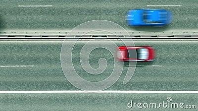Von oben nach unten auf der Autobahn mit offenem Puebla-Text. Fahren in Mexiko Intro-Clip stock footage
