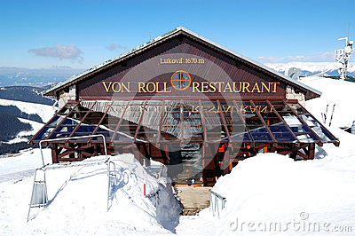 Von Roll restaurant in Jasna Low Tatras Editorial Stock Photo