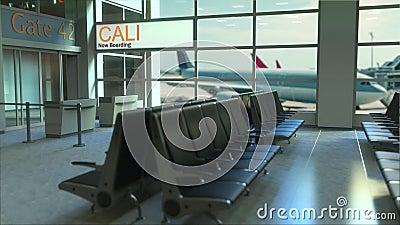 Voo de Cali que embarca agora no terminal de aeroporto Viajando à animação conceptual da introdução de Colômbia, rendição 3D filme