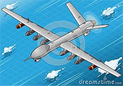Voo isométrico do avião do zangão em Front View