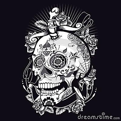 Voodoo Sugar Skull Vector Illustration