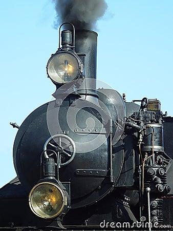 Voorzijde van een stoommotor