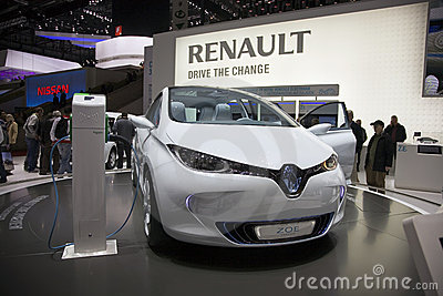Vorbetrachtung-Auto Renault-Zoe Redaktionelles Stockfotografie