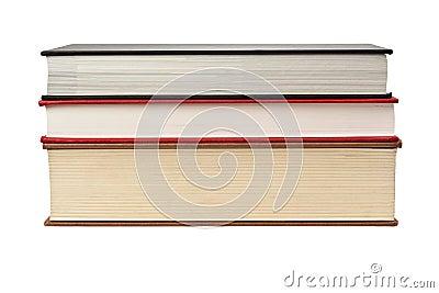 Vorderrand des Stapels von drei Büchern