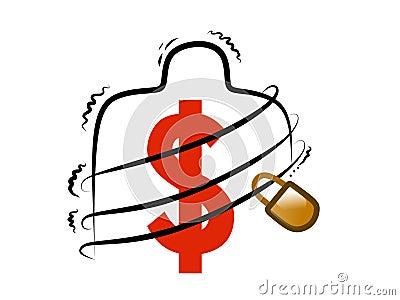 Vorhängeschloß mit Dollar-Symbol