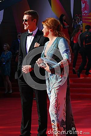 Vorobiev and Sotnikova at Moscow Film Festival Editorial Stock Image