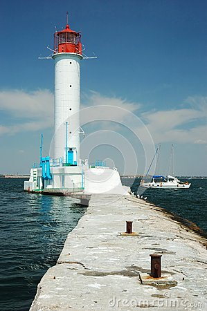 Vorontsov Lighthouse in Odessa s port, Ukraine