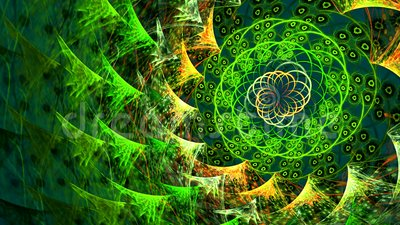 Vortex from green leaves. Spiral shiny particle. Colorful space-like nature tunnel loop animation. stock video