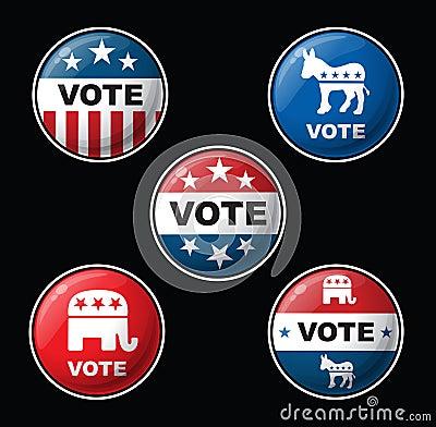 Free Vote Badges - American Republican & Democratic Parties Stock Photo - 76665880