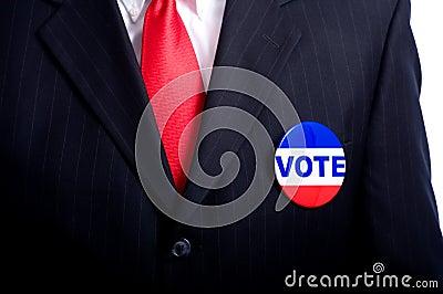 Vote Button on Man