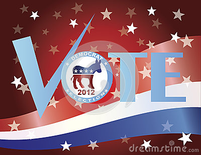 Vote Democrat Check Mark with US Flag Editorial Stock Photo